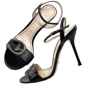 Gucci Dionysus Snake Buckle Black Leather Sandals